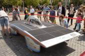 Solar powered car Antwerp — Stock Photo