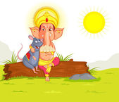 Lord Ganesha in vector for Happy Ganesh Chaturthi — Stock Vector