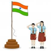 Indian student saluting flag of India — Stock Vector