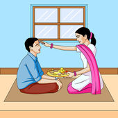 Bhai dooj, brother and sister festival India — Stock Vector