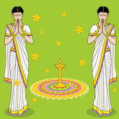 Indian Woman in welcome gesture — Stock Vector