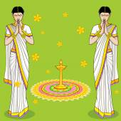 Indisk kvinna i välkommen gest — Stockvektor