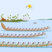 Boat race of Kerala for Onam celebration — Stock Vector