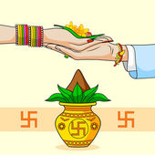 Bride and Groom in Indian Hindu Wedding — Stock Vector