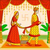 Bride and Groom in Indian Hindu Wedding — Stock Vector