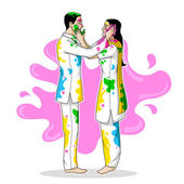 Indian people playing Holi — Vector de stock