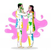 Indian people playing Holi — Stock Vector
