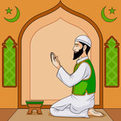 Muslim offering namaaz on Eid — Vector de stock