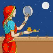 Indian woman doing Karwa Chauth — Stock vektor