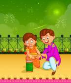 Kids enjoying firecracker celebrating Diwali — Stock Vector