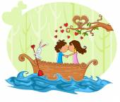 Love couple kissng in boat — Stock Vector