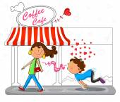 Love couple flirting infront of coffee cafe — Stock Vector