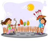 Love couple playing with bow and arrow — Stock Vector
