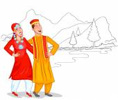 Dancing Kashmiri couple — Stock Photo