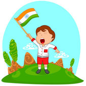 Indian boy hoisting flag of India — Stock Vector
