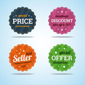 Special set of premium sale badges in flat style. — Stock Vector