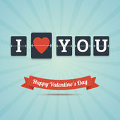 I Love You - Happy Valentine's Day greeting card. — Stock Vector