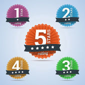 Rating badges from one to five stars — Stock Vector