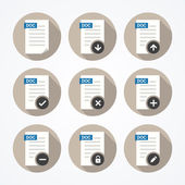 Set of doc file icons with long shadows. — Stock Vector