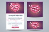 Happy Valentines Day Email Template. — Stock Vector