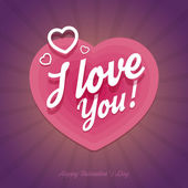 Happy Valentines Day card with heart shapes in flat style. — Vettoriale Stock