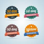 Set of money back guarantee badges in flat style. 30, 60, 90 day — Stock Vector