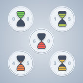 Hourglass timer icons with color gradation and numbers in flat s — Stock Vector