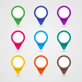 Set of colorful map pointer in flat style and material design co — Stock Vector