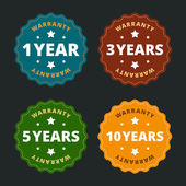 Warranty labels - for 1, 2, 5 and 10 years in flat style. — Stock Vector