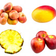 Fresh flat peaches, red apples, whole Mango fruit and Pineapple juicy slices  isolated on white background — Stock Photo #65493841