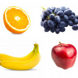 Fresh sliced orange fruit, Branch of blue grapes, Red apples and Two bananas isolated on white background — Stock Photo #65495637