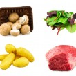 Mixed salad baby red leaf, baby spinach red chard, fresh beef slab, Young potatoes and Fresh Chestnut Mushrooms in a plastic container isolated on white background — Stock Photo #65547005