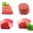 Set of Fresh beef slab with dill , ground beef , burgers for hamburgers isolated on white background — Stock Photo #65779527
