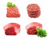 Set of Fresh beef slab with dill , ground beef , burgers for hamburgers isolated on white background — Stock Photo