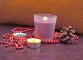 Christmas decor candles — Foto de Stock