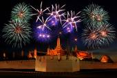 Firework display above the temple — Stock Photo