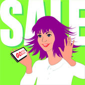 Woman enjoys sale — Stock Vector