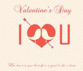 Valentine's Day Vintage Card - Illustration — Stock Vector
