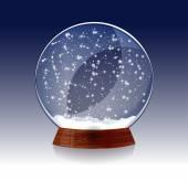 Transparent Christmas magic snowglobe — Stock Vector