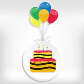 Birthday card with cake and balloon — Stock Vector