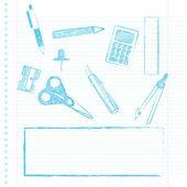 School supplies with copy space — Stock Vector