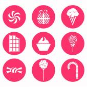 Monochrome icons candy — Stock Vector