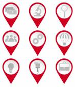 Map pin icons of business and education — Stock Vector