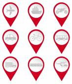 Map pin icons of transports — Stock Vector