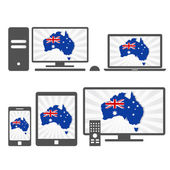 Electronic devices with the map of Australia — Stock Vector
