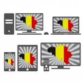 Electronic devices with the map of Belgium — Stock Vector