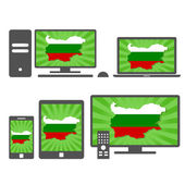 Electronic devices with the map of Bulgaria — Stock Vector