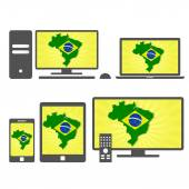Electronic devices with the map of Brazil — Stock Vector