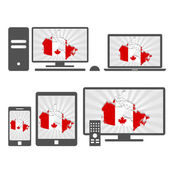 Electronic devices with the map of Canada — Stock Vector