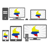 Electronic devices with the map of Colombia — Stock Vector